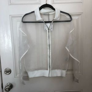 NWT Zara vinyl mesh zip up jacket